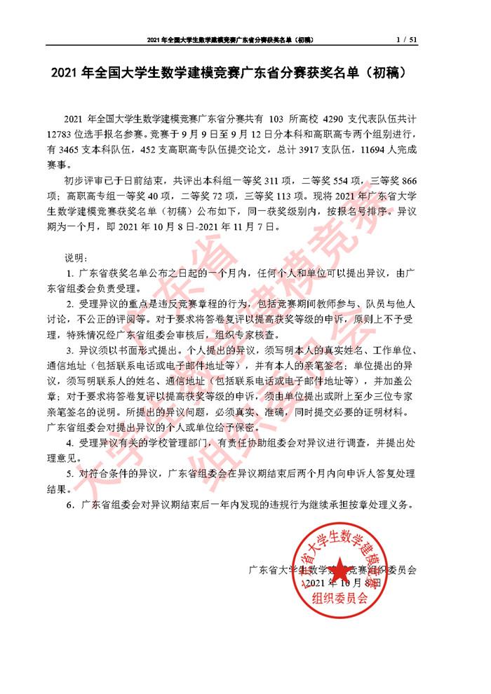 2021年全国大学生数学建模竞赛广东省分赛获奖名单(初稿)_Page1.jpg